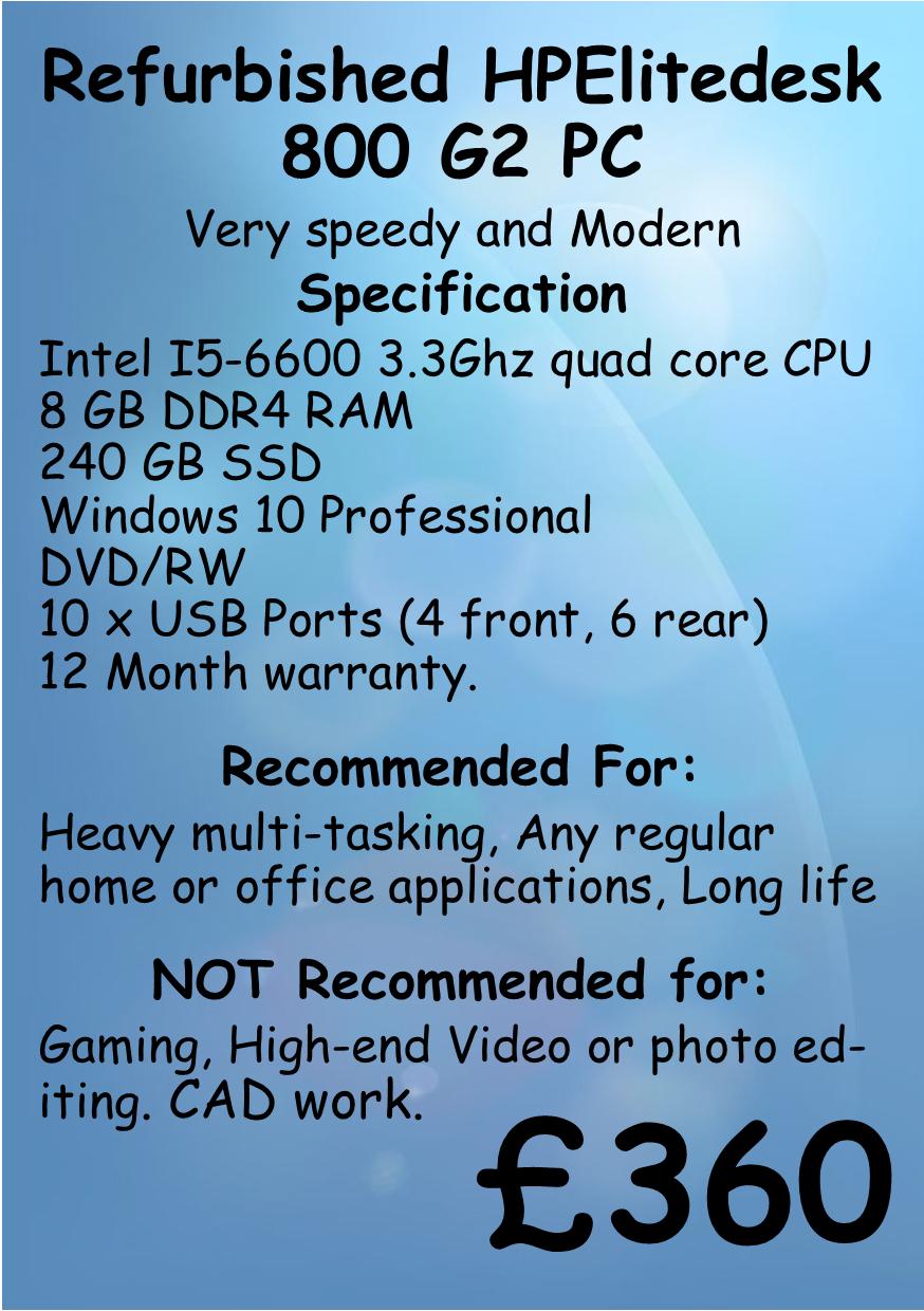 HP Elite desk 800 g2